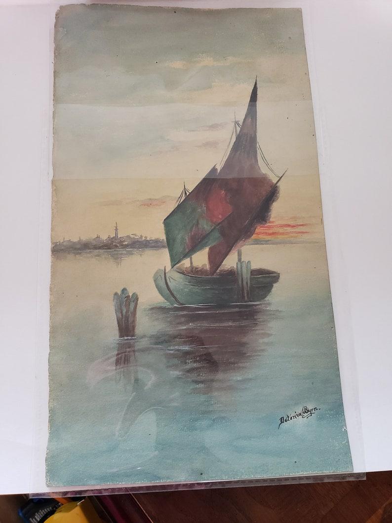 Vintage watercolor seascape