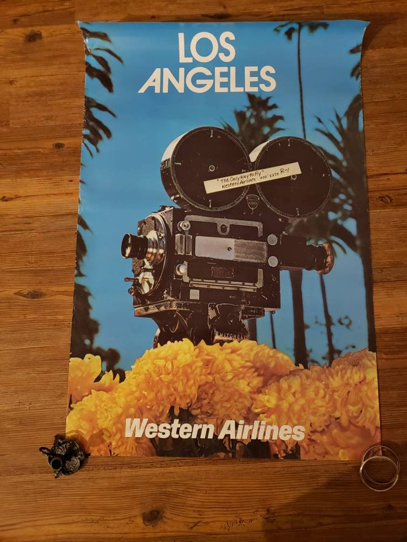 Western Airlines travel poster Los Angeles