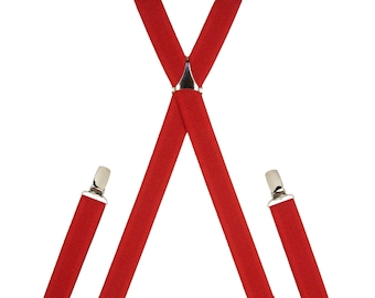 Red Skinny Elastic Trouser Braces Clip On // Handmade Adjustable Elasticated Men's Suspenders