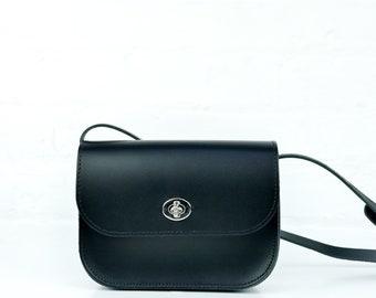 1fe8a63bc8f Black Leather Handmade Shoulder Bag // Unusual Small Black Leather Satchel  // Chroma Medium Cross Body Black Leather Handbag