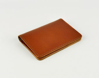 c7a7ad8adccf Tan Leather Card Holder Handmade    Slim Credit Travel Card Wallet    Chroma