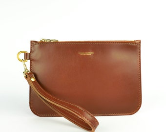 f3df250f973d09 Tan Leather Clutch Bag Handmade // Soft Italian Leather Wristlet // Roam