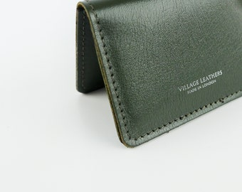 d84a8d88b989 Leather Card Holder Olive Green Handmade    Up cycled Brown Vintage Slim  Credit Travel Card Wallet
