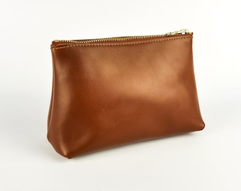 Brown Leather Travel Bag Handmade  Soft Italian Leather Make Up pouch  Roam