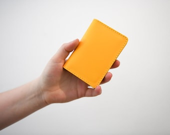 Credit card holder etsy yellow leather card holder handmade leather shirt wallet slim credit card holder leather travel card wallet chroma reheart Images