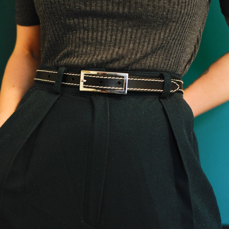 Skinny Leather Belt SALE Black Leather Belt Stitched Leather Belt Contrasting Decorative Stitch