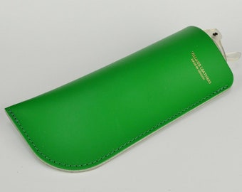 Leather Glasses Case Chroma Green Handmade // Bright Spectacles Holder Sunglasses Pouch