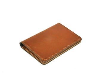 Leather Credit Card Holder // Chroma Ranger Tan Leather Wallet Handmade // Slim Wallet Travel Card Holder