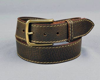 "Stitched Edge Leather Belt 1 1/2"" //  38mm Quality Veg Tan Leather Brown Black Coloured Stitching"