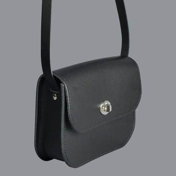 48182ae77ae5 Black Leather Handmade Shoulder Bag    Unusual Small Black