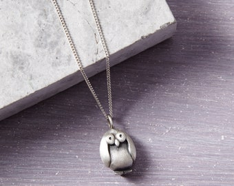 Owl Pendant - Bird Pendant - Owl Necklace - Bird Necklace - Solid Silver Pendant