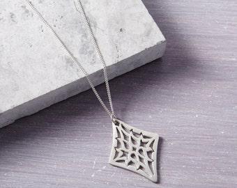 Diamond Shape Pendant - Filigree Pendant - Diamond Shape Necklace - Solid Silver Pendant