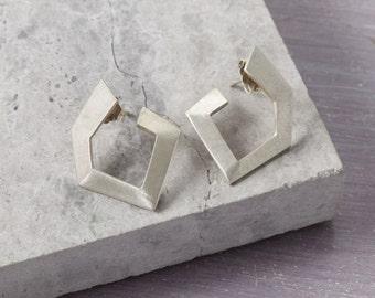 Solid Silver Geometric Hoop Earrings