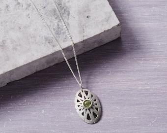 Peridot Pendant - August Birthstone Pendant - Peridot Necklace - Birthstone Pendant - Solid Silver Pendant