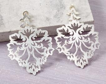 Solid Silver Damask Earrings