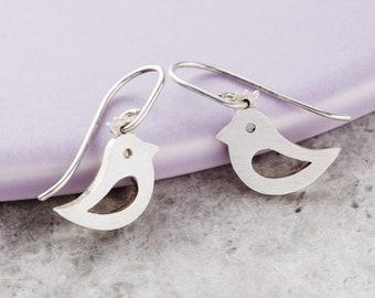 Solid Silver Bird Earrings