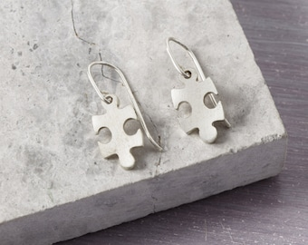 Solid Silver Puzzle Earrings