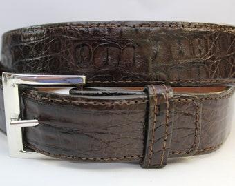 Made in U.S.A Genuine Brown Alligator Leather Belt w// Sterling Silver Buckle