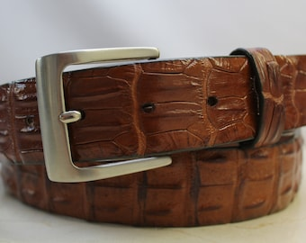 Made in U.S.A Genuine Burgundy Alligator Leather Belt
