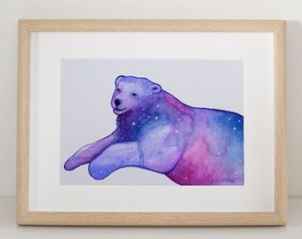 Space Bear, A4 PRINT reproduction, Watercolour Painting, Polar Bear Illustration