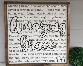 Hymn lyrics etsy amazing grace wood sign 24 x 24 hymn song lyrics stopboris Choice Image