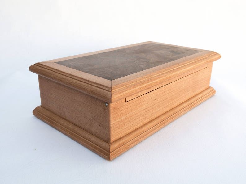 Large wooden box with tray-Wooden box with lid-Organizer-Wooden box personalized-Wooden box with drawer-Boite en bois-Schatulle