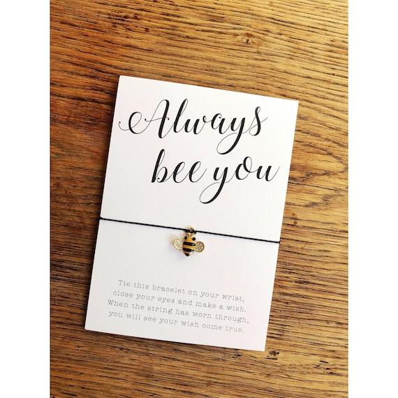 Bee wish bracelet Bee Yourself Bracelet gift  Bee charm bracelet Wish Bracelet Bumble Bee Bracelet Best Friend Gift for Her Bee Jewelry
