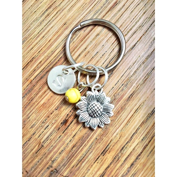 Teal Alphabet Purple  Dots Turquoise Sunflowers Personalised Stocking fillers Yellow Initial Glitter keychainkeyring