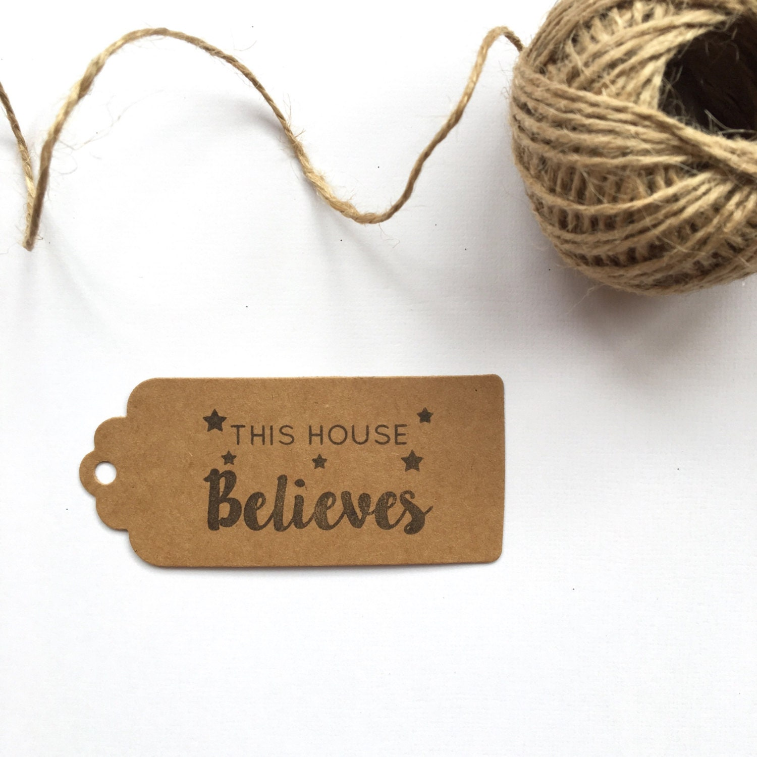 This house believes / christmas gift tag / hand stamped ...