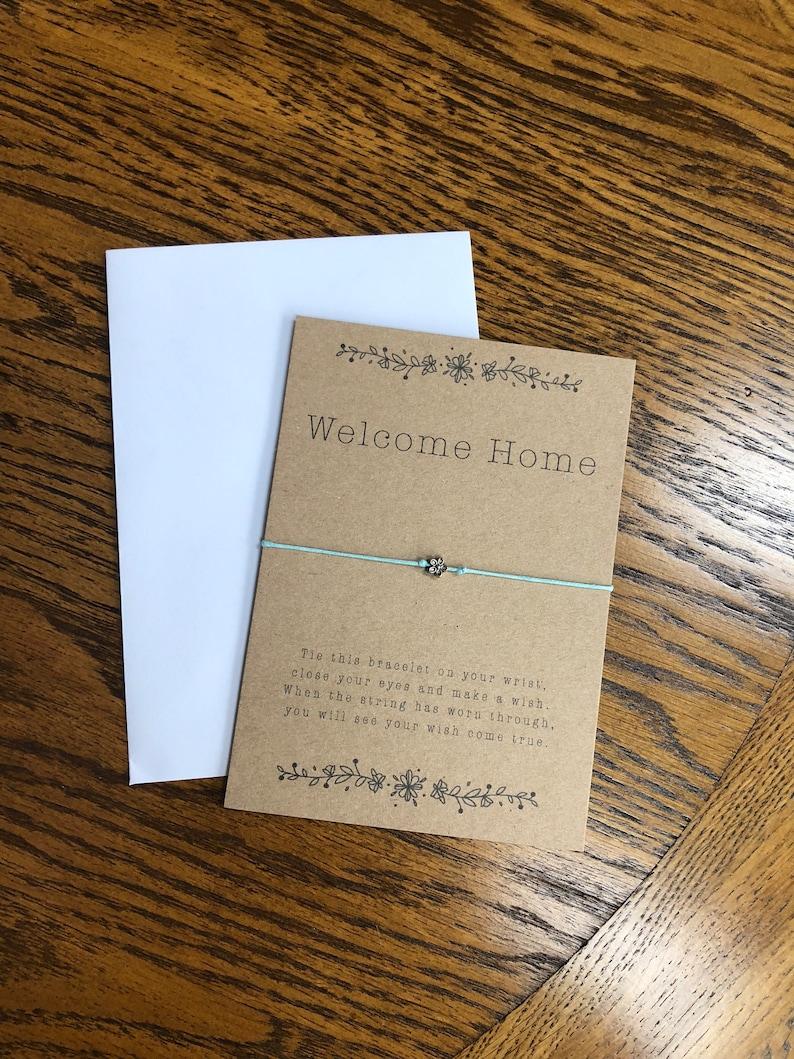 Welcome home wish bracelet  make a wish  homecoming  wish bracelet  welcome home gift  flower charm