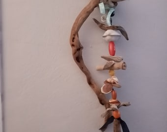 Driftwood mobile for indoor or outdoor,Driftwood windchime,Wall hanging windchime,Mobile in seawoods and shells,Wall art beach mobile,Mobile