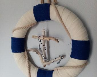 Nautical Wreath,Coastal Wreath,Driftwood Anchor Wreath,Wreath Navy Theme,Beach House Decor,Nautical Gift,Wall Decor Wreath,Wreath Decor