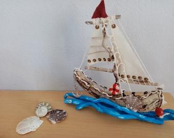 Driftwood sailboat,Handmade sailboat,Sailboat in waves,Ornament decor,Home decor sailboat, housewarming gift,decorative boat, tabletop decor