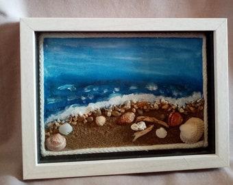 Beach Frame real sand & shells,Beach Art Framed,Sea Shell Art,Coastal Art,Beach house frame decor,Sea life,Nautical Theme frame,Wave art