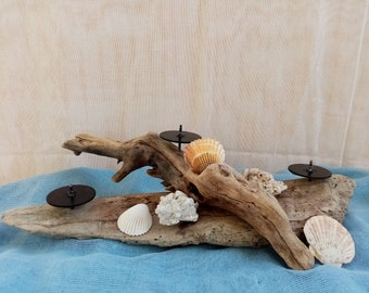 Handcrafted Driftwood Candle Holder,Natural driftwood candle holder,Table centerpiece candle stand,Wooden 3 candles holder, Candle holder