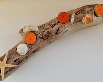 Driftwood Tea Light Candle Holder,Centerpiece candle holder,Driftwood Art,Candle Holders,Nautical Decor,Coastal decor,Beach House Decor,