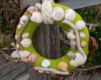 Seashells Wreath,Wreath for Front Door,Summer Wreath,Coastal Wreath,Front Door Decor,Wreath with shells&driftwoods,Beach Wreath,Wall Decor