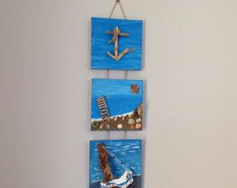 Original Nautical wall triple artpiece with Natural Driftwoods and Seashells,Driftwood Art boat/Anchor/beach Canvas,Wall decor,Coastal decor