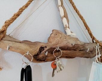 Key holder, wall driftwood sailboat key rack, wall key hanger/holder, nautical theme key holder/hanger