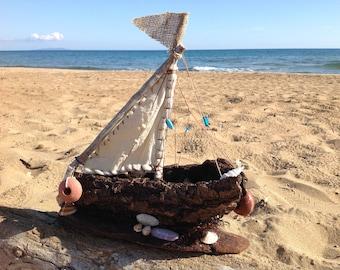 Handmade Driftwood boat,Driftwood  tree bark boat,Driftwood sailboat,driftwood art,Housewarming art, Home decor sailboat,Nautical theme boat