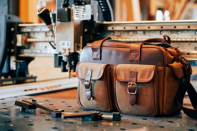 078531dda9 Waxed canvas camera bag leather camera bag DSLR camera bag