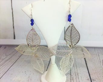 Silver earrings, silver leaves, vivid blue beads, large earrings, dangling earrings, earrings silver.