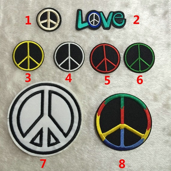 Fabric Artificial Peace Sign Patches Embroidery Clothes Love Etsy