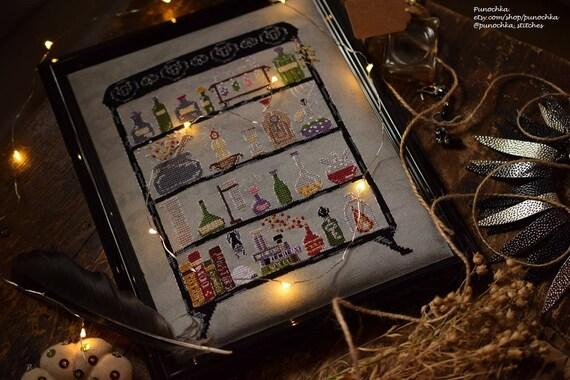 Modern Witch's Lab - Halloween cross stitch PDF pattern, witch cross  stitch, magic, potions, spell, alchemy, chemistry, science cross stitch
