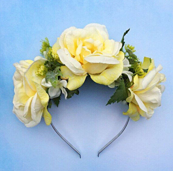 Yellow Rose Headband Yellow Flower Crown Spring Accessory  0aba50a8cff