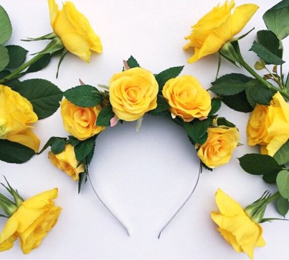 Yellow Rose Crown Yellow Flower Crown Rose Headband Garden  1223aa69a59