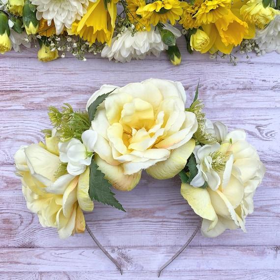 Flor de Color Amarillo Bebé Cabeza Banda Diadema vendedor del Reino Unido