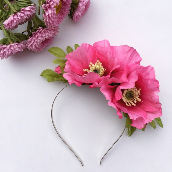 Pink Poppy Pink Hair Accessory Pink Ladies Pink Statement Etsy