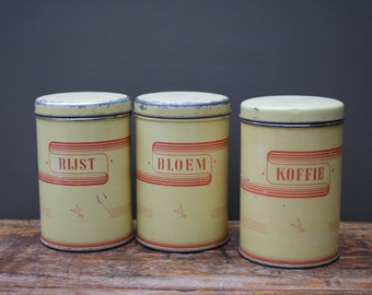 Vintage Yellow Canisters Coffee Flour And Rice, Kitchen Canister Set, Kitchen  Jars, Vintage Kitchen Storage Tins, Vintage Tins.