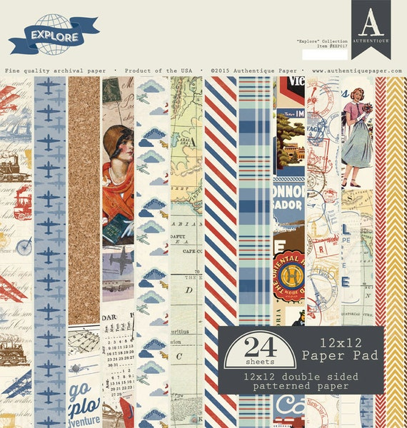 Authentique Explore 24 Sheets 12x12 Double Sided Paper Pad Etsy